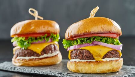 two tasty cheeseburgers with american cheese