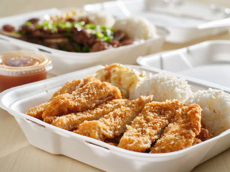 hawaiian bbq in take out tray with chicken katsu