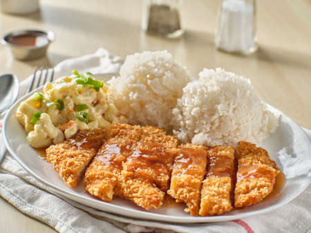 chicken katsu hawaiian bbq plate with gravy and rice
