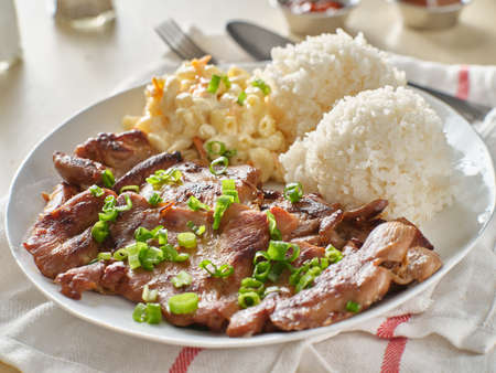 hawaiian bbq plate with barbecue chicken and rice Stockfoto