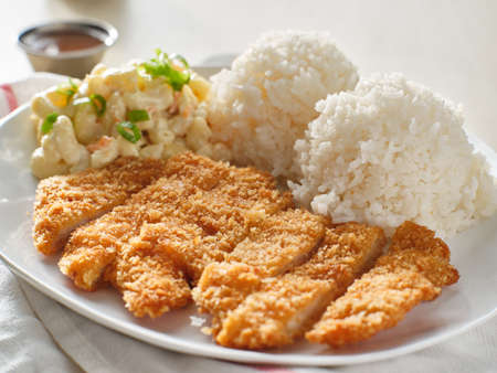 chicken katsu hawaiian bbq plate lunch with white rice and macaroni salad Stockfoto