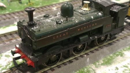 close ups: Miniature train set close ups Stock Photo
