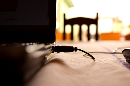 Work Space, Laptop On Table, Removable Media Stock Photo