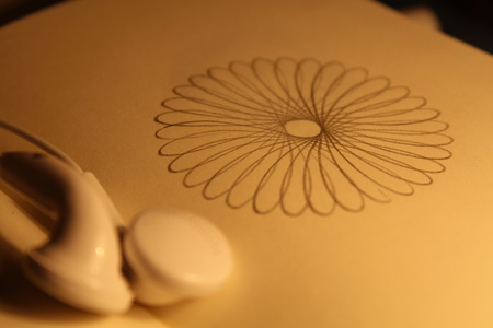 Drawing the spirograph pattern Stock Photo
