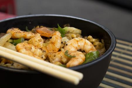 Traditional shrimp yakisoba. Japanese and Chinese Pasta Reklamní fotografie