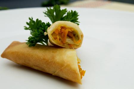 Fried Vegetable Spring Rolls in white plate. Harumaki in a plate. Reklamní fotografie