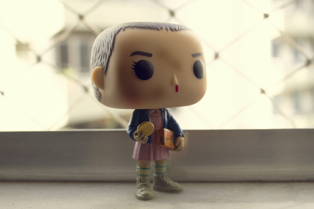 Rio de Janeiro, Brazil. September 30, 2018. Illustrative editorial of Funko Pop action figure of Eleven with eggos, fictional character from the Netflix series Stranger Things.