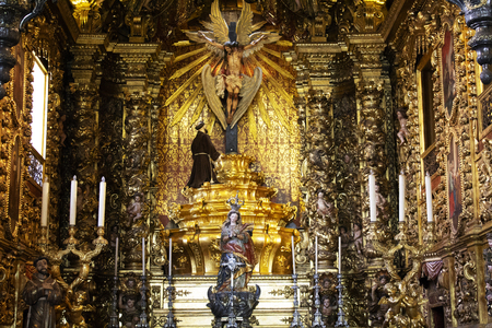 Rio de Janeiro, Brazil - October 10, 2018: The Monastery of Sao Bento (St. Benedict Monastery) in Centro in Rio de Janeiro. Brazil primary example of Brazilian colonial architecture