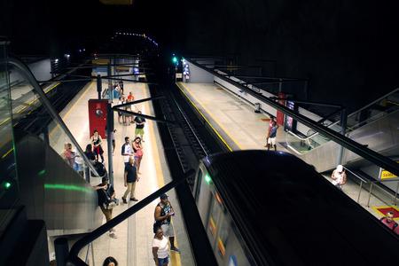 Rio de Janeiro, Brazil. November 17, 2018. General Osorio metro station in Ipanema. Passengers waiting on the subway train station in the city of Rio de Janeiro.