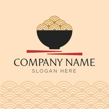 Bowl with noodles logo templates, suitable for any business related to ramen, noodles, fast food restaurants, Korean food, Japanese food or any other business on a clean background.