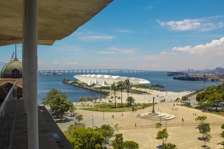 Rio de Janeiro, Brazil - January 02, 2019: View of the Museum of Tomorrow (also known as the Museum of Tomorrow), from the River Musuem of Art (MAR) viewpoint. Redakční