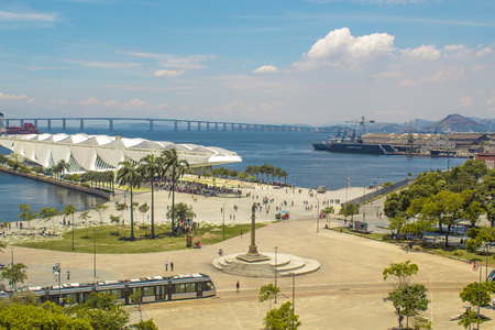 Rio de Janeiro, Brazil - January 02, 2019: View of the Museum of Tomorrow (also known as the Museum of Tomorrow), from the River Musuem of Art (MAR) viewpoint. Редакционное
