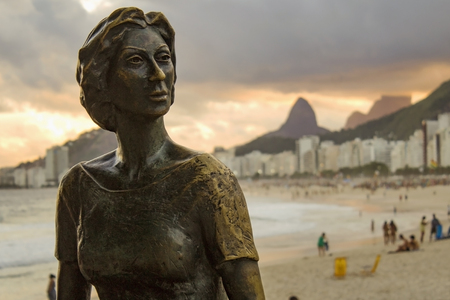 Rio de Janeiro, Brazil - March 29, 2019: Statue of the writer Clarice Lispector with her dog