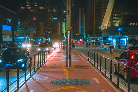 Sao Paulo, Brazil - May 15, 2018: Paulista Avenue at night. bike path of paulista avenue.