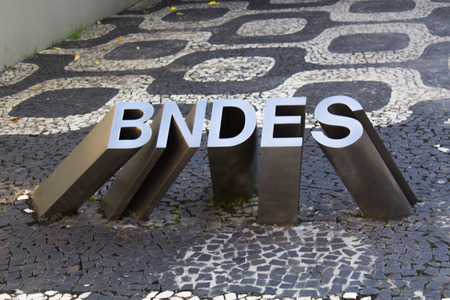 Rio de Janeiro, Brazil - April 15, 2019: Sculpture of the logo at the entrance of the National Bank for Economic and Social Development BNDES