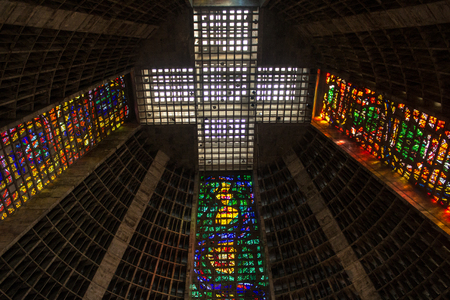 Rio de Janeiro, Brazil - April 16, 2019: The Metropolitan Cathedral of Saint Sebastian (Portuguese: Metropolitan Cathedral of S?o Sebasti?o). The church is dedicated to Saint Sebastian. Redakční