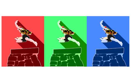 indonesia culture: Fahombo Jumping Stone Illustration
