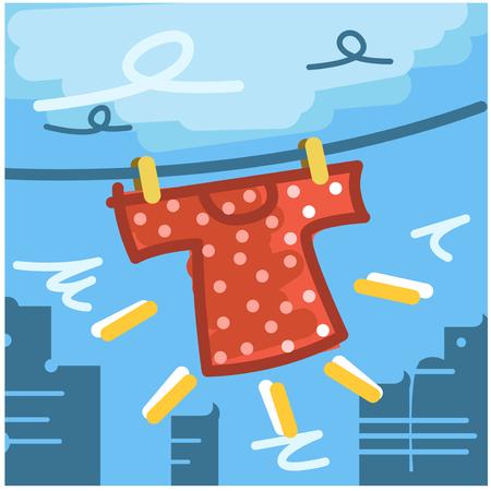 veranda: Get Dry Washing The Shirt Laundry Illustration