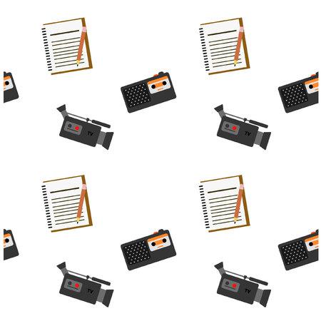 journalistic: Journalistic tool audio visual pattern Illustration