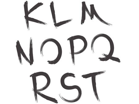letras negras: artístico pincel alfabeto parte de la fuente 2 Vectores