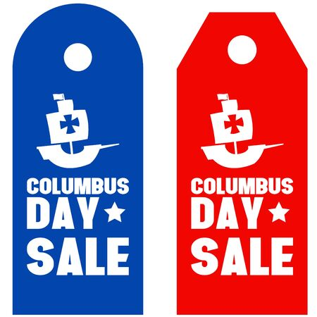 cristoforo colombo: Happy Columbus Day promotion sale red blue Vettoriali