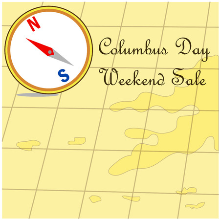 cristoforo colombo: Happy Columbus Day promotion sale map