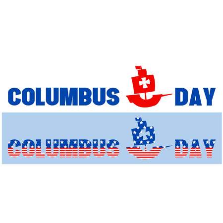 cristoforo colombo: Happy Columbus Day long text Vettoriali