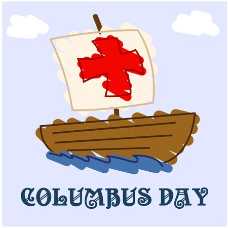 cristoforo colombo: Happy Columbus Day classic draw Vettoriali