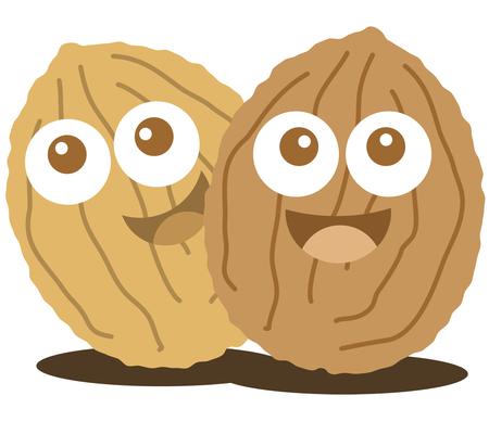 mixed nuts: Walnut cute cartoon nut