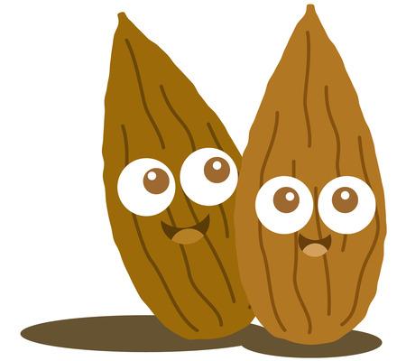 almond: Almond cute cartoon nut