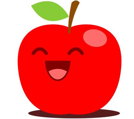 frutas divertidas: Manzana roja linda de la historieta