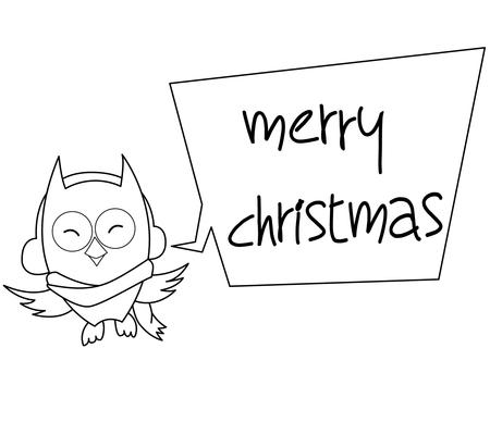 bw: Owl Cartoon Christmas Illustration BW