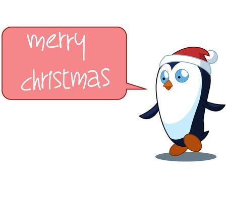 full color: Penguin Cartoon Christmas Illustration Full Color Illustration