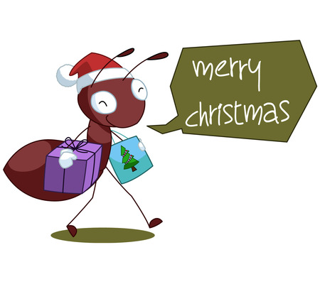 ant: Red Ant Cartoon Christmas Illustration Full Color