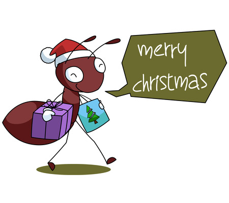 bugs shopping: Red Ant Cartoon Christmas Illustration