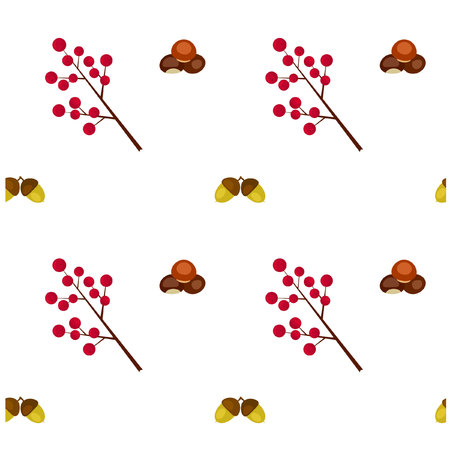 berry: Pattern Autumn Chestnut Berry and Acorn