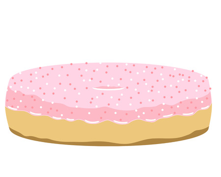 Donut illustration with strawberry cream and sweet ball