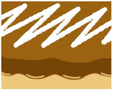 tasty: Donut illustration with chocolate cream and tasty white cream background