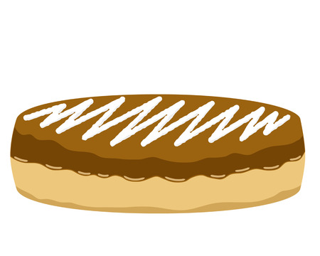tasty: Donut illustration with chocolate cream and tasty white cream
