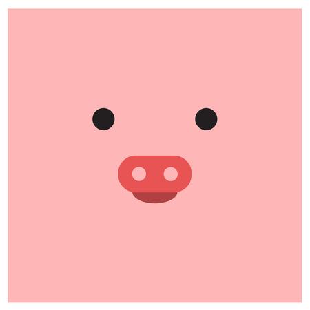 中華干支豚の顔  イラスト・ベクター素材