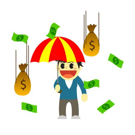 hard rain: Officewomen cartoon and rain of money