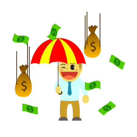 hard rain: Officeman cartoon and rain of money