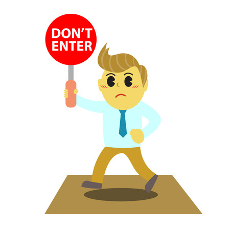 bussinesman: Officeman cartoon and stop sign 1