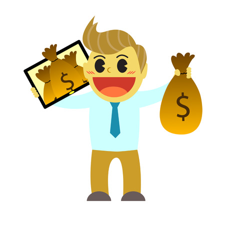 bussinesman: Officeman cartoon and money from gadget 1 Illustration