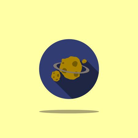 Space icon illustration asteroid flat Illustration