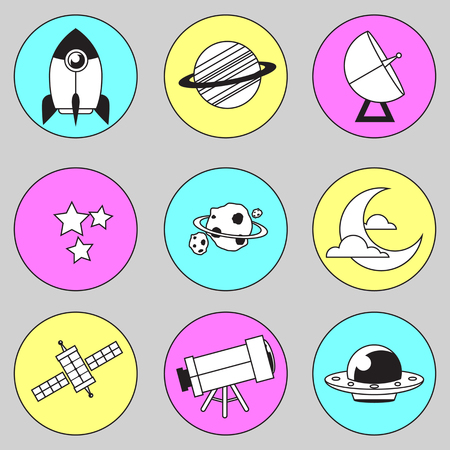 03: Space icon illustration 03 with line Illustration