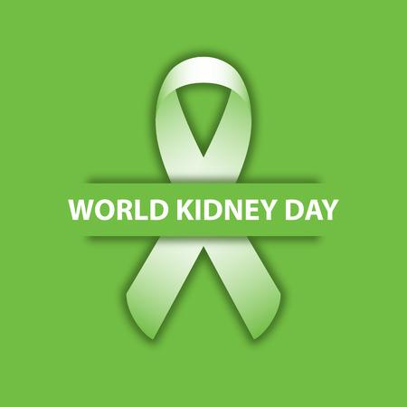 World kidney day green ribbon design illustration 05