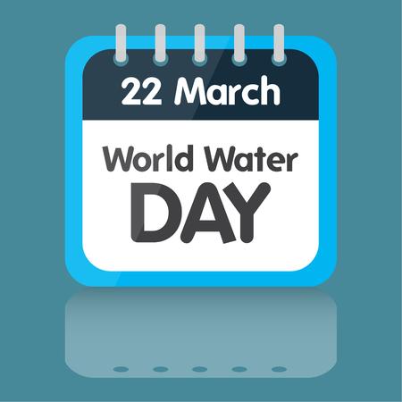 Día mundial del agua, ilustración, diseño azul calendario Foto de archivo - 59196814
