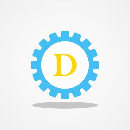Gear initial letter D uppercase logo design template gold blue Illustration
