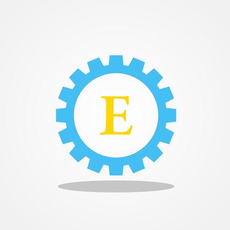 Lettre initiale vitesse E logo majuscule conception modèle bleu or Banque d'images - 74619782